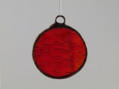 Round Stained Glass Ornament - Red Orange, designed by Michelle Copeland at ThistleGlass.com