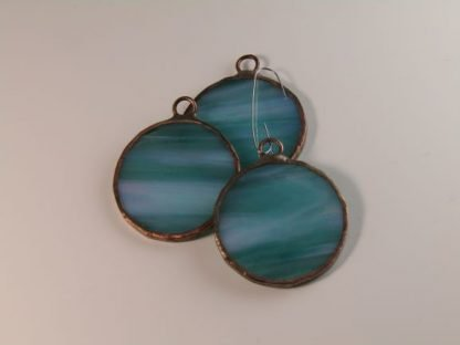 Round Stained Glass Ornament - Mint Green Iridescent, by Michelle Copeland at ThistleGlass.com