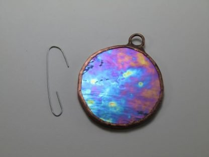Round Stained Glass Ornament - Gray Iridescent, by Michelle Copeland at ThistleGlass.com