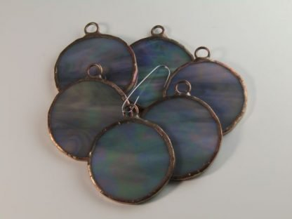 Round Stained Glass Ornament - Iridescent Gray, by Michelle Copeland at ThistleGlass.com