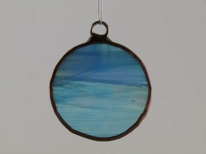 Round Stained Glass Ornament - Blue Iridescent, by Michelle Copeland at ThistleGlass.com