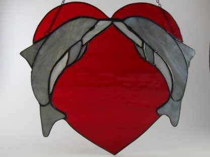 Dolphin Love - Stained Glass Window, designed by Michelle Copeland at ThistleGlass.com